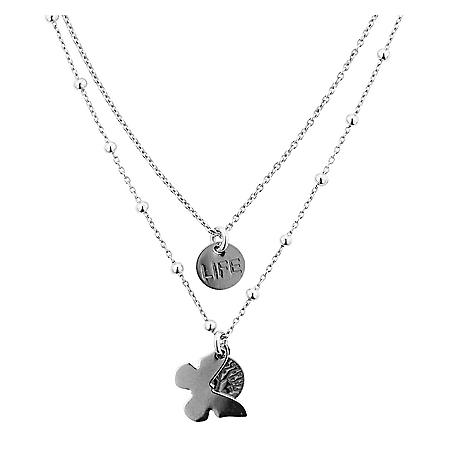 Sterling Silver Double Layered Butterfly and Circle Necklace