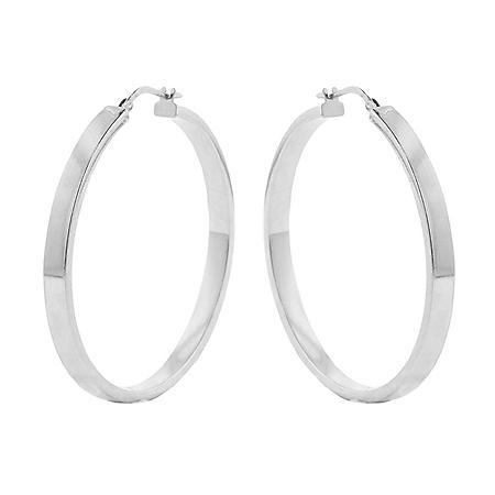 Italian Sterling Silver High Polish Hoop Earrings