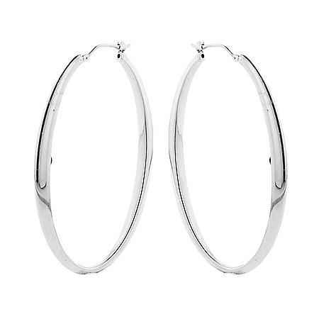 Italian Sterling Silver Oval High Polish Hoop Earrings