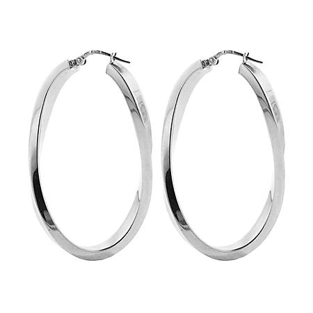Sterling Silver High Polish Curved Oval Hoop Earrings