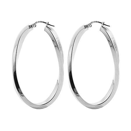 Italian Sterling Silver High Polish Curved Oval Hoop Earrings