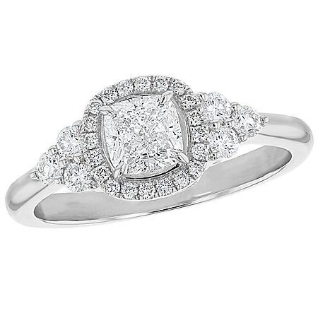 S Collection Bridal 1.10 CT. T.W. Diamond Cushion Cut Halo Ring in 14K Gold (SI, H-I)