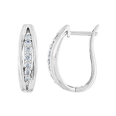 0.33 CT. T.W. Diamond Hoop Earrings in 14K Gold
