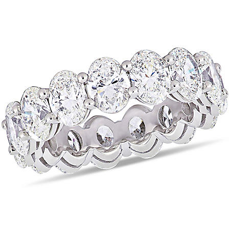 Elegance by Allura 7.5 CT. T.W. Oval-Cut Diamond Eternity Anniversary Ring in 18k White Gold