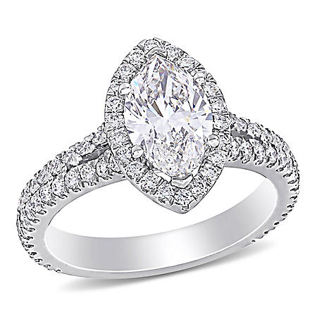 Allura 2.35 CT. T.W. Marquise and Round-Cut Diamond Halo Engagement Ring in 18k White Gold