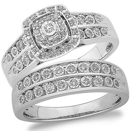 0.37 CT. T.W. Cushion Shape Diamond Wedding Set in 14k White Gold