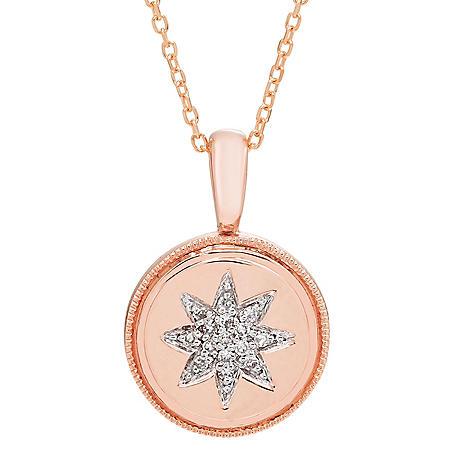 Diamond Starburst Charm Necklace in 14K Gold (I, I1)