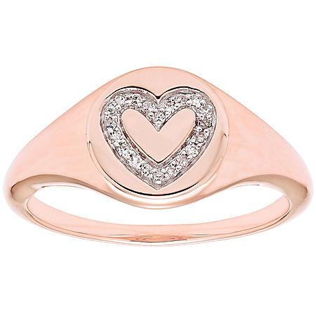Diamond Heart Signet Ring in 14K Gold (I, I1)