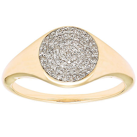 0.20 CT. T.W. Diamond Pave Signet Ring in 14K Gold (I, I1)