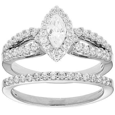 1.00 CT. T.W. Marquise Diamond Engagement Ring and Band in 14K Gold (I, I1)