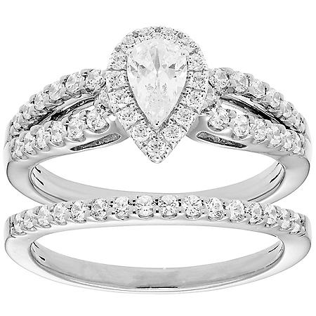 1.00 CT. T.W. Pear Diamond Engagement Ring and Band in 14K Gold (I, I1)