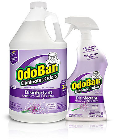 OdoBan Odor Eliminator & Disinfectant Ready-to-Use, Lavender Scent (1 Gallon Concentrate / 32 oz. Spray)
