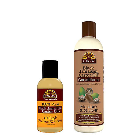 OKAY Black Jamaican Castor Oil Moisture Growth - Sulfate, Silicone, Paraben Free  Four Piece Set