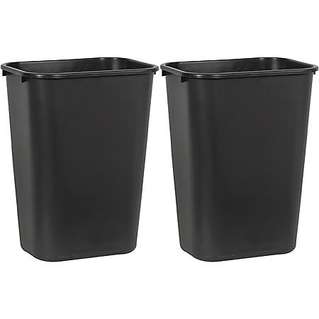 Boardwalk Soft-Sided, Plastic Wastebasket, Black (10.25 gal., 2 pk.)