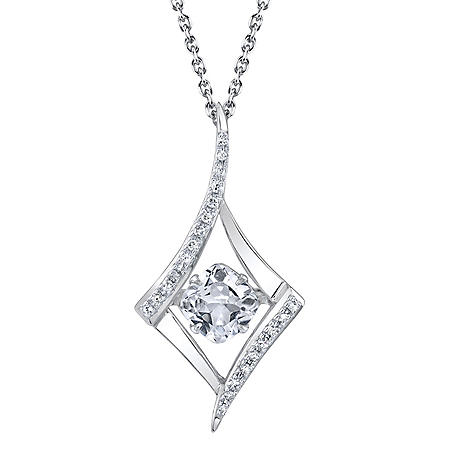 Sterling Silver Dancing Gemstone Twist with 0.08 CT. T.W. Diamonds Pendant