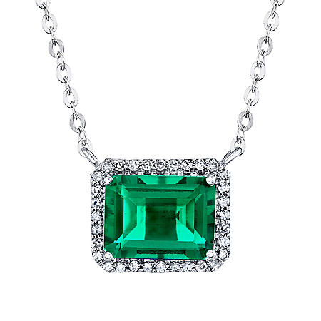 925 Sterling Silver Lab Created Emerald and 0.08 CT. T.W. Diamond Necklace