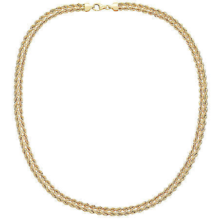 14K Yellow Gold Kissing Heart Necklace, 18""