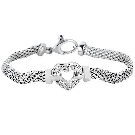 0.12 CT. T.W. Diamond Heart Bracelet in Italian Sterling Silver