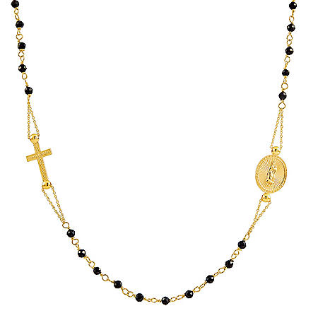 """14K Yellow Gold Beaded Rosary Necklace, 20"""""""