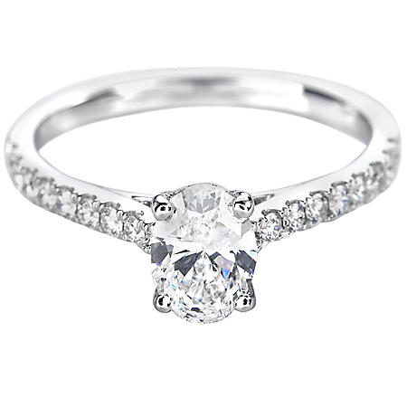 Premier Diamond Collection 1.08 CT. T.W. Oval Shape Diamond Ring in 18K White Gold - GIA & IGI (E, VVS1)