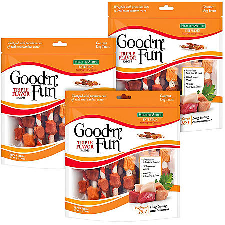 Good 'n' Fun Triple Flavor Kabob Gourmet Dog Treat Bundle (3 pk., 18 ct. each)