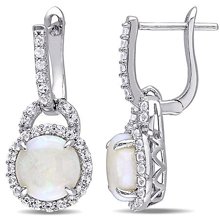 3.1 CT. T.G.W. Opal and White Topaz Hinged Hoop Halo Earrings in Sterling Silver