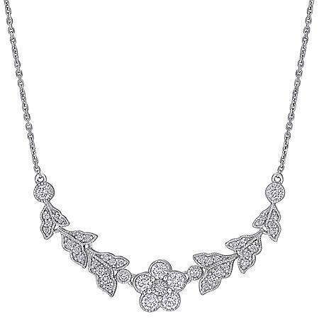 Allura 0.8 CT. T.W. Diamond Floral Necklace in 14k White Gold