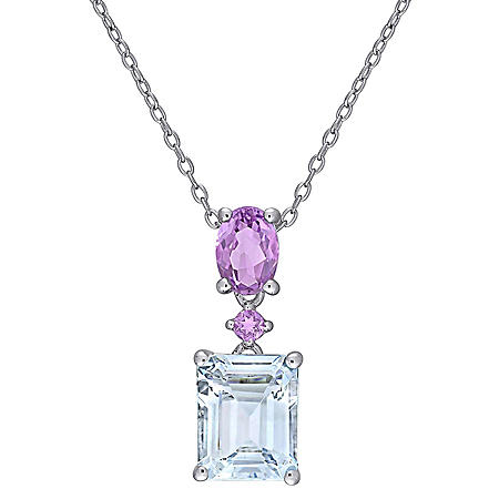 3.75 CT. T.G.W. Aquamarine and Amethyst Dangle Pendant in Sterling Silver