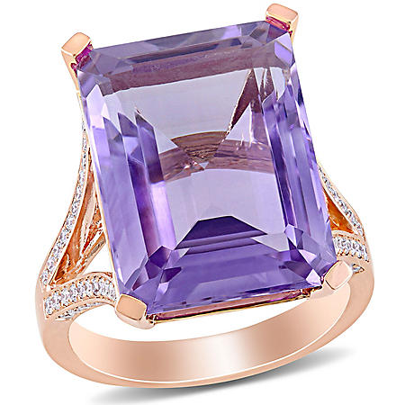 Allura 14 CT. T.G.W. Pink Amethyst and 0.4 CT. T.W. Diamond Ring in 14k Rose Gold