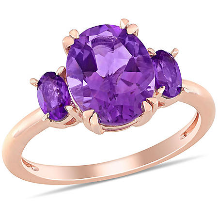 2.63 CT. T.G.W. Amethyst 3-Stone Oval Ring in 14k Rose Gold