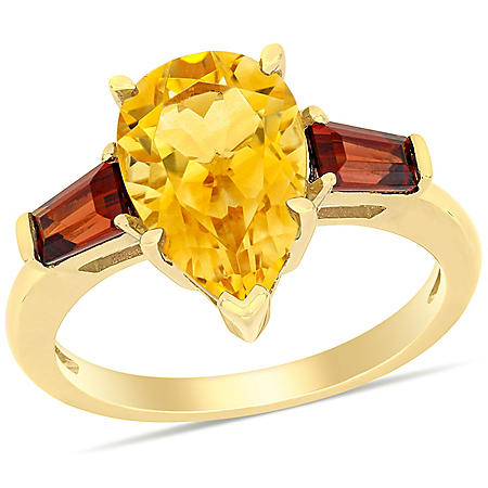 3.5 CT. T.G.W. Citrine and Garnet Teardrop 3-Stone Ring in 14k Yellow Gold