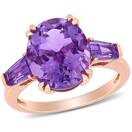 4.38 CT. T.G.W. Amethyst 3-Stone Oval Ring in 14k Rose Gold