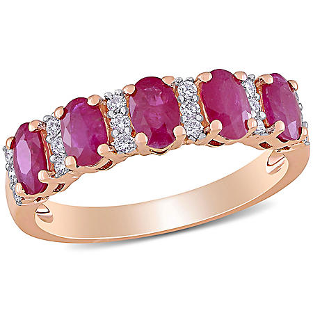 1.4 CT. T.G.W. Ruby and 0.16 CT. T.W. Diamond 5-Stone Wedding Ring in 14k Rose Gold