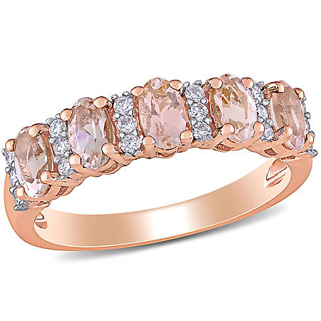 1 CT. T.G.W. Morganite and 0.16 CT T.W. Diamond 5-Stone Wedding Ring in 14k Rose Gold