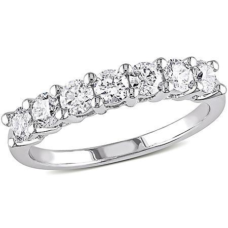 Allura 1.05 CT. T.W. Diamond Semi Eternity Anniversary Ring in 14k White Gold