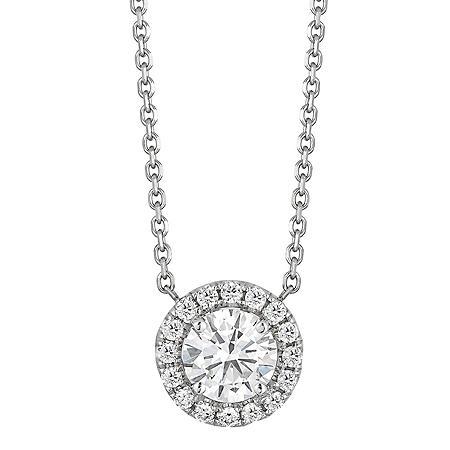 Superior Quality Collection 0.50 CT. T.W. Round Diamond Pendant in 18K White Gold (I, VS2)