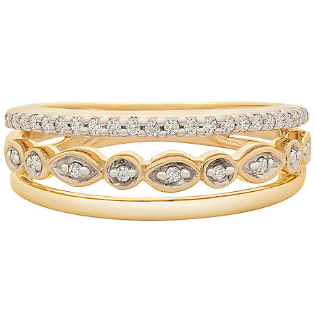 0.15 CT. T.W. Diamond 3 Row Ring in 14k Yellow Gold