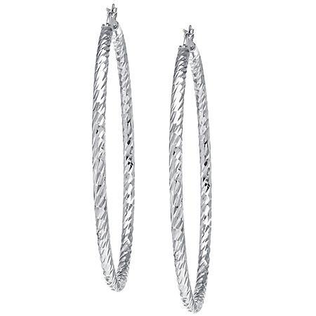 Sterling Silver 65mm Diamond Cut Hoop Earrings