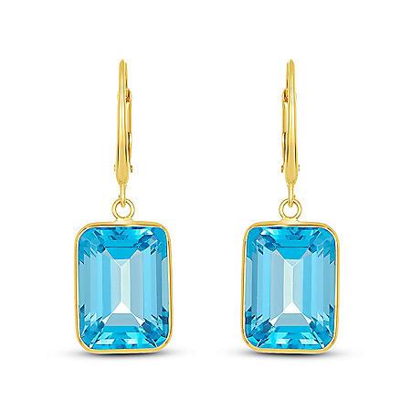 Emerald Cut Swiss Blue Topaz Dangle Earrings in 14 Karat Yellow Gold