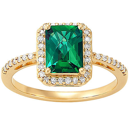 Emerald-Cut Lab Created Emerald and Diamond Ring in 14K Yellow Gold