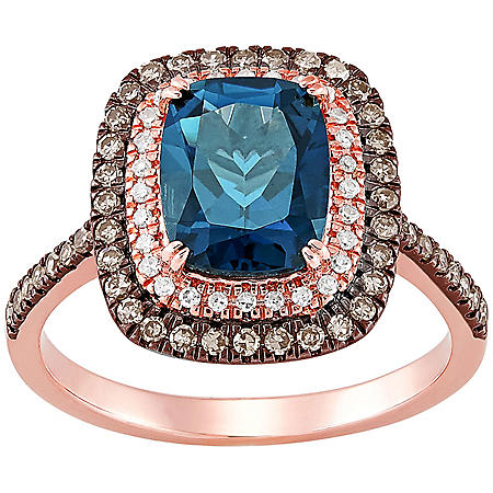 Cushion-Cut London Blue Topaz Ring with 0.37 CT. T.W. Diamonds in 14K Rose Gold