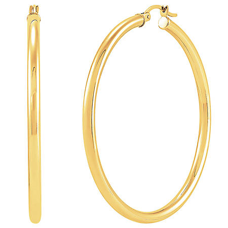 14K Yellow Gold Round Hoop Earrings-3x50MM