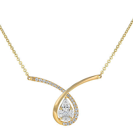 S Collection 5/8 CT. T.W. Diamond Crossover Pear-Shaped Necklace in 14K Yellow Gold