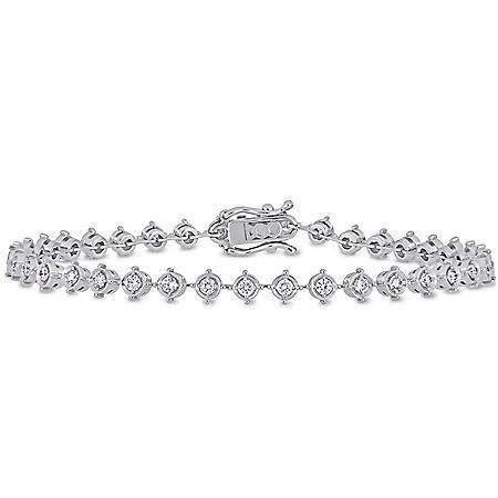 "Allura 1.33 CT. Diamond Halo Tennis Bracelet in 18K White Gold, 7"""