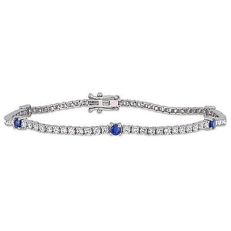 Allura 0.86 CT. T.G.W. Blue Sapphire and 1.7 CT. T.W. Diamond Station Tennis Bracelet in 14K White Gold
