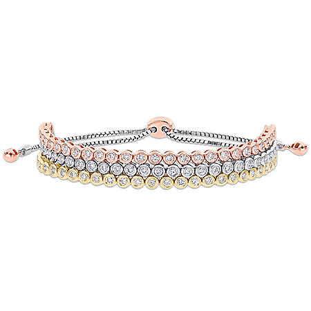 Allura 1.45 CT. T.W. Diamond Triple Layered Tennis Bolo Bracelet in 14K White, Yellow and Rose Gold