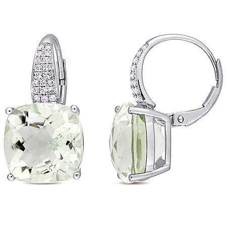 13.5 CT. T.G.W. Green Amethyst and 0.21 CT. T.W. Diamond Leverback Earrings in 14K White Gold