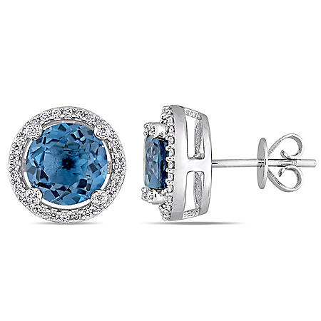 4.58 CT. T.G.W. London-Blue Topaz and 0.25 CT. T.W. Diamond Halo Stud Earrings in 14K White Gold
