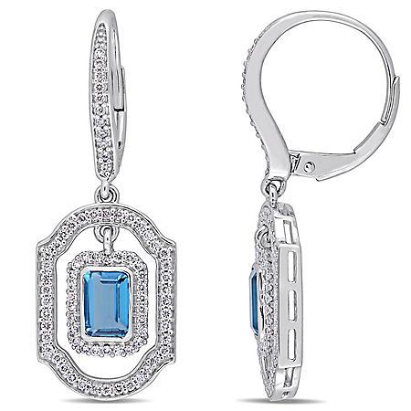 Allura 1.4 CT. T.G.W. London-Blue Topaz and 0.55 CT. T.W. Diamond Leverback Earrings in 14K White Gold