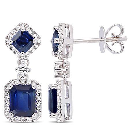 Allura 2.36 CT. T.G.W. Blue Sapphire and 0.37 CT. T.W. Diamond Halo Dangle Earrings in 14K White Gold